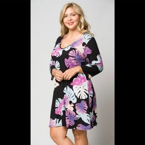 Plus Black Swing Dress with Leaf Print